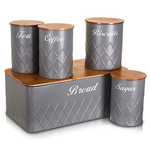 LIVIVO 5pc Kitchen Storage Set with Airtight Bamboo Lids Includes Tea Coffee Sugar with Matching Biscuit Barrel Canister Jar & Stylish Bread Bin – Diamond Embossed Design Matt Finish (Grey)