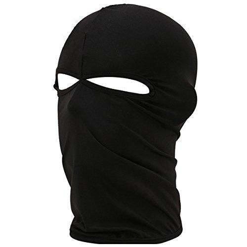 ZHAO YUAN Cagoule à 2 trous pour les yeux Masque intégral de vélo respirant et léger pour moto, ski, snowboard, aventure, etc. (Noir)