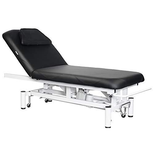 Activeshop Kosmetikliege Massageliege Massagetisch Massagestuhl Cosmetic Chair Elektrish 684a mit 1 Motor Schwarz bis 200 kg belastbar Premium-PU-Leder