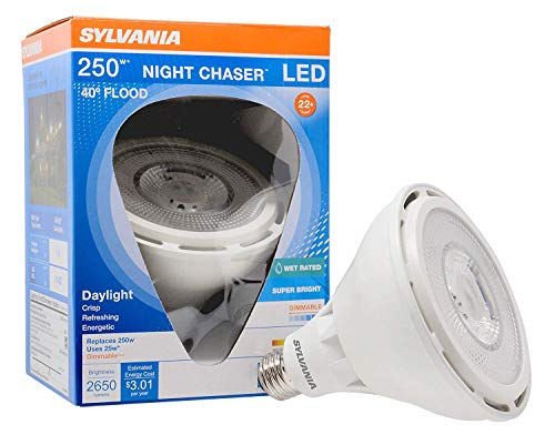 Sylvania LED Night Chaser, PAR38, 250W Equivalent, 2650 Lumen, Replacement for Halogen Flood Spot Light, Medium Base E26, Dimmable, 5000K Daylight