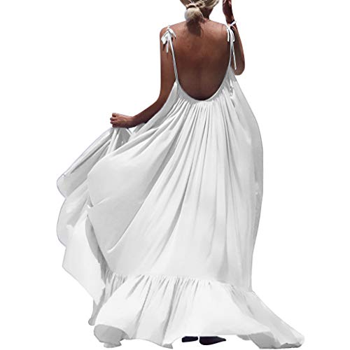 ZQISHMAO 2019 Women Boho Maxi Dress Sexy Backless Sleeveless Beach Party Flowy Summer Long Sun Dress Plus Size (White, XXXL)