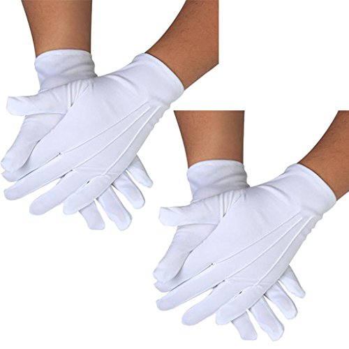DH 2 Pairs White Cotton/Nylon Marching Gloves, Formal Tuxedo Honor Guard Parade Gloves
