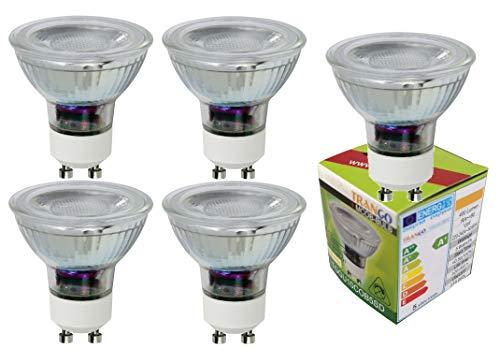 Trango 5er Set GU10 LED Leuchtmittel 5 Watt - 400 Lumen 5TGGU10COB5 Lampenfassung 3000K warmweiß Glühlampen zum Austauschen von herkömmlichen Halogen Lampen, Reflektorform
