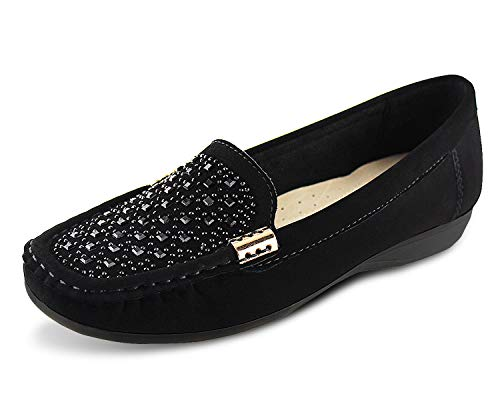 JABASIC Women Penny Moccasins Loafers Comfortable Slip On Driving Flats Shoes(9,Black-2)