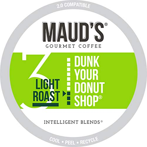 Maud's Donut Shop Coffee (Dunk Your Donut Shop), 100ct. Recyclable Single Serve Donut Shop Coffee Pods - 100% Arabica Coffee California Roasted, Light Roast Donut Shop KCups Compatible