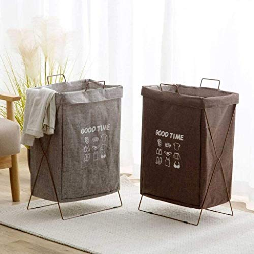 ROSSLBF Wasmand Sorter Storage Basket ijzeren frame Folding Storage Basket Badkamer Waterproof Wasmand Sorter (Color : Gray)
