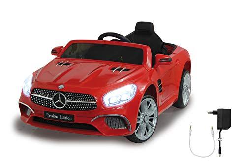 Jamara 460437 Ride-on Mercedes-Benz SL 400 12V-2 krachtige aandrijfmotoren en accu voor lange rijtijd, micro-SD-slot, AUX-/USB-aansluiting, LED-koplampen, rubberen ring, rood