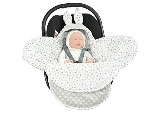 EliMeli Baby Einschlagdecke Babyschale Winter - Grau Mädchen Junge Decke Universal für Autositz, Kinderwagen Buggys und Babybett, Premium Qualität - Design Minky (Mint - Mint Stars)