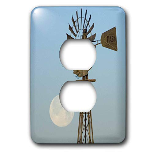 Duplex Receptacle Outlet Wallplate 1 Gang Outlet Covers Windmill At Sunrise Full Moon Panhandle Texas Classic Beadboard Wall Plate Decorator Unbreakable Faceplate