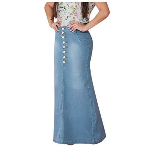 TIFIY Damen Rock Lässige Damen-A-Line-Röcke aus gewaschenem Denim mit Knopfleiste und langem Jean-Rock Elegant Retro Lässig Ausgehen Basic Winter Rock Hellblau L