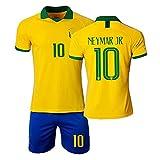 HKIASQ Uniforme De Fútbol, Traje Brasil Jersey 10 Neymar Fans Jersey Conjunto De 3, Niños Adultos Entrenamiento Transpirable Camiseta De Fútbol + Pantalones Cortos,Amarillo,26