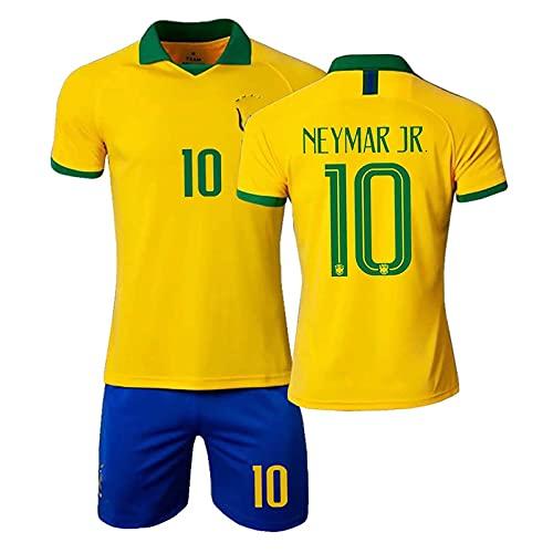 HKIASQ Uniforme De Fútbol, Traje Brasil Jersey 10 Neymar Fans Jersey Conjunto De 3, Niños Adultos Entrenamiento Transpirable Camiseta De Fútbol + Pantalones Cortos,Amarillo,22