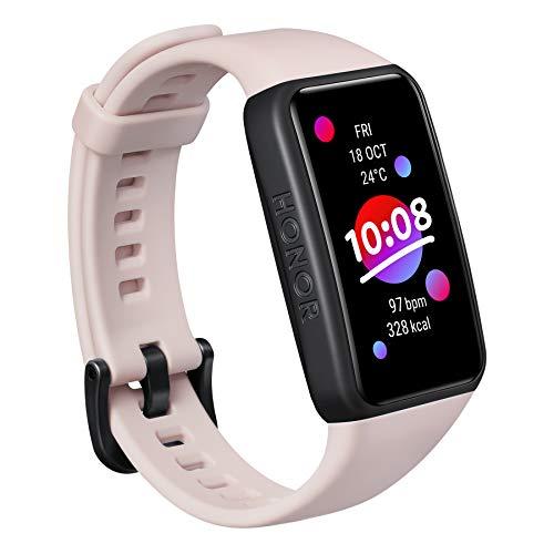 HONOR Band 6 Braccialetto intelligente Schermo intero 1,47 pollici AMOLED Touchscreen a colori SpO2 Frequenza cardiaca Sonno Stress Nuoto Activity Tracker Versione globale, Rosa