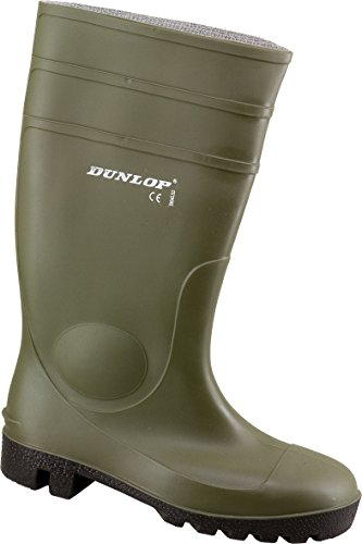 Dunlop Protomaster Full Safety Gummistiefel,Arbeitsstiefel,Regenstiefel,Gartenstiefel, Oliv, 40 EU