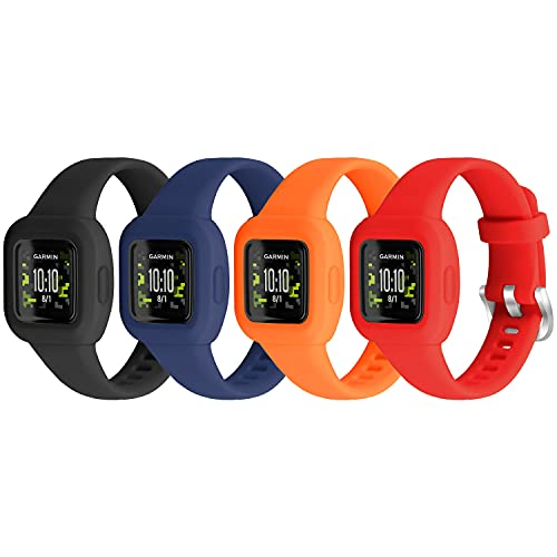 Vanet 4 Pack Compatible with Garmin Vivofit Jr 3 Bands for Kids, Soft Silicone Sport Breathable Bands Adjustable Replacement for Girls Boys, Black/Navy/Red/Orange