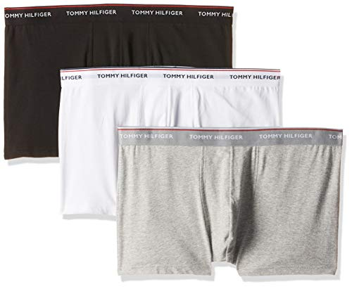 Tommy Hilfiger 3p Trunk Boxer, Nero (Black/Grey Heather/White 004), Medium (Pacco da 3) Uomo