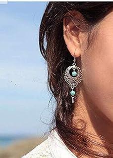 Pendientes Plata Hippie Mujer Plata Hecho a Mano con Piedras Decorativas Lapilazuli. Pendiente Espiral Aretes Plata uno de...