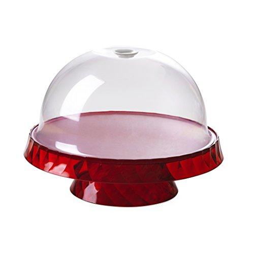 Omada Design Socle à gâteaux et fruit de 36 cm de diamètre et 16,5 cm de hauteur, en plastique incassable, Ligne Diamond, Rouge