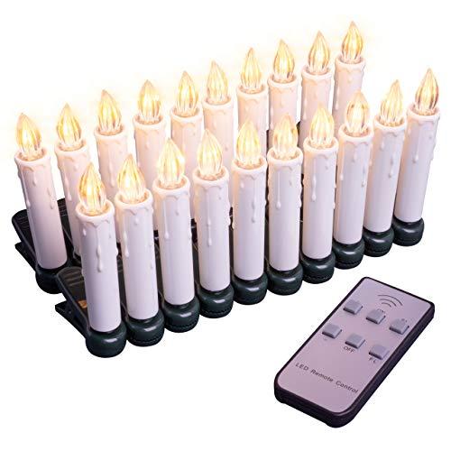 Baumbeleuchtung kabellose Christbaumkerzen 20 LED warmweiß Fernbedienung Batterie dimmbar Funktionen Weihnachtsbaumlichter Weihnachtsdeko