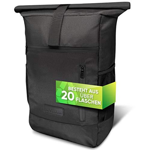 invilus ® - Rolltop Rucksack Damen und Herren aus Recycelten Plastikflaschen   Rucksack Uni   Laptop Rucksack   Rucksack Schwarz   Tagesrucksack Damen   Rucksack Schule   Rucksack Wasserdicht