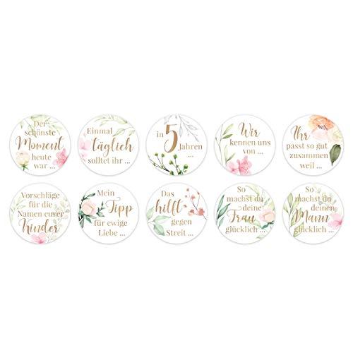 5 Sets Gästebuch Hochzeits Sticker Aufkleber Fragen selbstklebend Kreis 40mm je 10 Fragen - Blumen