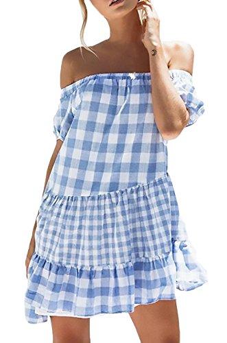 Vestidos Verano Mujer Elegante Barco Cuello Manga Corta A Cuadros Ropa Dama Moderno con Volantes Corto Vestido Playa Anchas Casuales Moda Sin Tirantes Espalda Abierta Dress