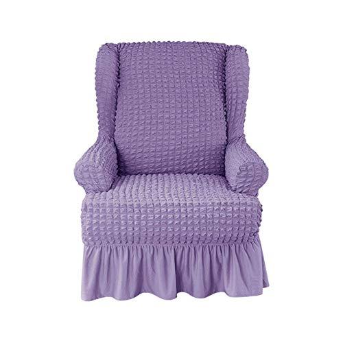 DHTOMC Stretch Wing Chair Schonbezug, 1 Stück rutschfeste Ohrensesselbezüge Sesselbezüge Sofa Schonbezug Seersucker Wingback Sessel Wing Recliner Chair-lila-1 Stück