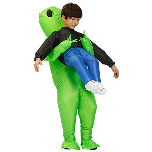 """LWAN3 Aufblasbares Halloween-Kostüm """"Carry Me"""", kompletter Körper, grüner Alien-Anzug, für Erwachsene und Kinder Gr. 90/130 cm, A1 - Kinder"""