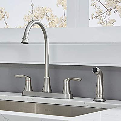 Friho Two Handle Side Sprayer Brushed Nickel Kitchen Faucet, Commercial Lead-Free Stainless Steel 360 Swivel Two Lever Satin Nickel Kitchen Sink Faucet with Pull Out Sprayer