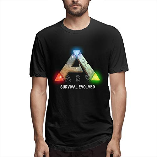Men's Casual Cotton Cool ARK Survival Evolved Logo Graphic Tee Shirts Short Sleeve O-Neck Sports Teen Tops T-Shirt Black Large