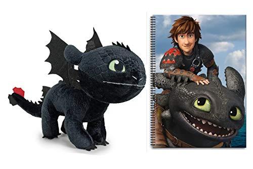 HTTYD Dragons, como Entrenar a tu dragón - Pack Peluche Desdentao Toothless Furia Nocturna 11'81'/30Cm + Libreta A4