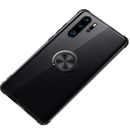 SORAKA Funda Transparente para Huawei P30 Pro con Soporte de Anillo emergente Slim Fit Funda TPU Transparente Suave con Placa Metal para Soporte para teléfono Coche magnético