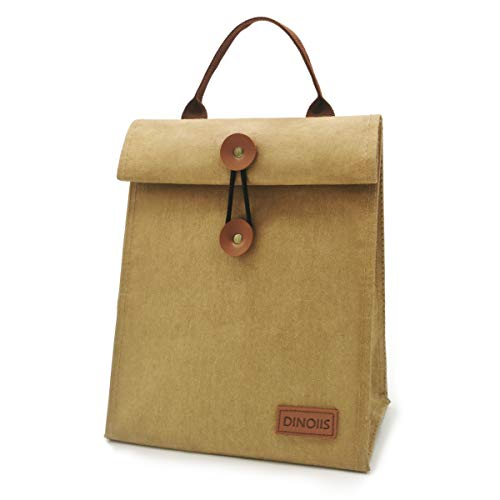 DINOIIS Waxed Canvas Lunch Bag, Brown Paper Bag Styled with HOOK&LOOP Close, Foldable Reusable Insulated Tote Bag For Women Men, Waterproof Lunch Sack for Office Work School Picnic (Upgrade Brown)