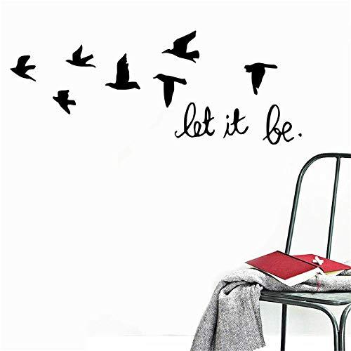 TFOOD Muursticker, zwart zwaluwen, vogels, citaat, Let It Be zelfklevende PVC-muurschildering, geschikt voor slaapkamer, woonkamer, kinderkamer, doe-het-zelf huishoudtextiel