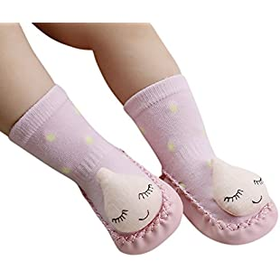 Hotsellhome Infant Baby Unisex Anti-Slip Cotton Slipper Socks Comfortable Cute Cartoon Socks Indoor Shoes Girls Boys (Pink, 0-6 Months):Ukcustomizer