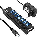 Zamus 7 porte Hub USB 3.0 , Hub USB per Trasmissione Dati Alta velocità (5 Gbps) e Sincronizzazione, con interruttore indipendente e adattatore di alimentazione 5V / 3A