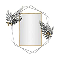 ライフデコレーション装飾アンティーク六角形メタルフレームハンギングウォールミラーモダンな幾何学的な装飾リビングルームバスルームベッドルームと玄関