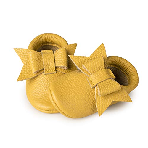 Littlebeemocs Bow Baby Moccasins (Italian Leather) Soft Sole Shoes for Girls | Infants, Babies, Toddlere (4, Yellow)