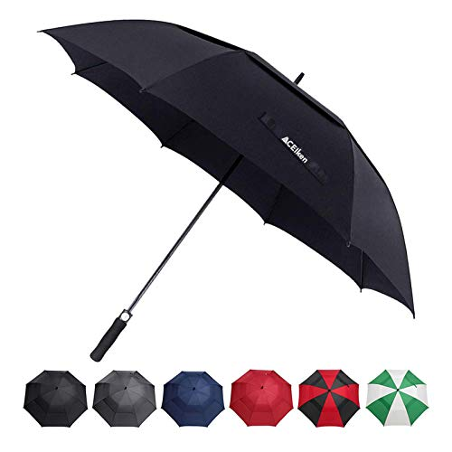 ACEIken Golf Umbrella Windproof Large 62 Inch, Double Canopy Vented, Automatic Open, Extra Large Oversized,Sun Protection Ultra Rain & Wind Resistant Stick Umbrellas (Black)