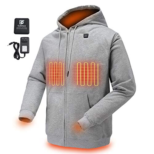 COLCHAM Heated Hoodie Soft Fleece with Battery and Charger Gray L