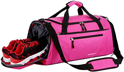 Mouteenoo Gym Bag 40L Sports Travel Duffel Bag for Men and Women with Shoes Compartment (One_Size, Intense Pink)