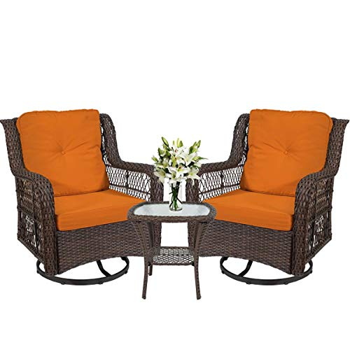 I-Choice 3-Piece Patio Furniture Wicker Rattan Bistro Furniture Set Outdoor Patio Conversation Set, 2 Swivel Rocking Cushioned Chairs with Glass Coffee Table (Orange)