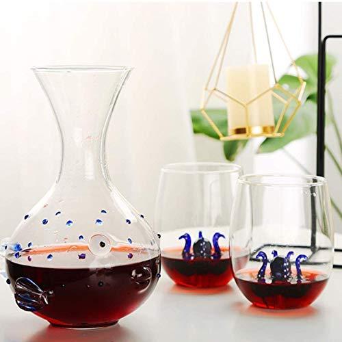 Jarra de whisky Conjunto de vidrio y decantador de whisky, decantador de whisky de cristal libre de 1000 ml con 2 gafas de whisky 300ml, diseño de octopos grabado, es una gran obra de arte Regalo de w