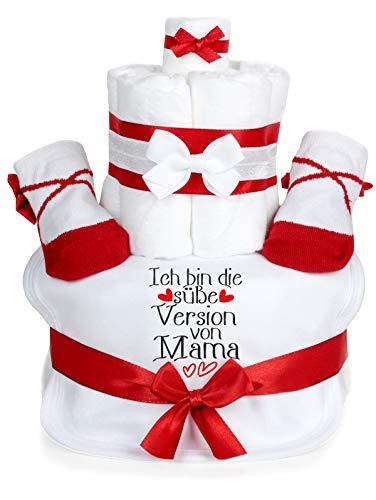 Trend Mama Windeltorte weiss-rot Mädchen - Babysocken + Haarband+ hochwertig bedrucktes Lätzchen -Spruch-Ich bin die süße Version von Mama