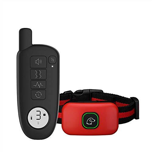 LLDKA hondenhalsband, waterdicht, elektrisch, oplaadbaar, voor hondentraining, 1600YD, elektrische keuken, halsband, met piep/vibratie, rood