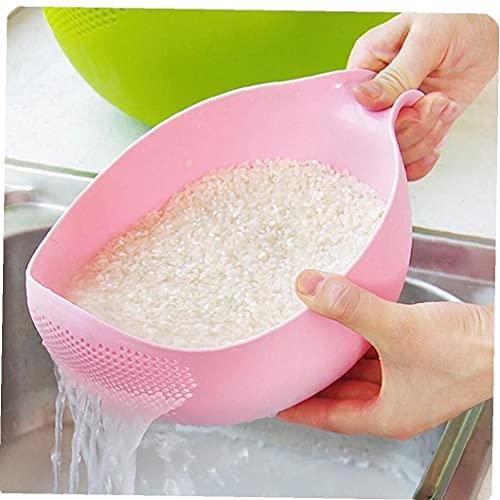 Ruluti Alimento de Calidad plástico Frijoles de arroz Guisantes Lavado Filtro colador Verde Rosa Color Cesta tamiz drenador Limpieza de Color a al Azar