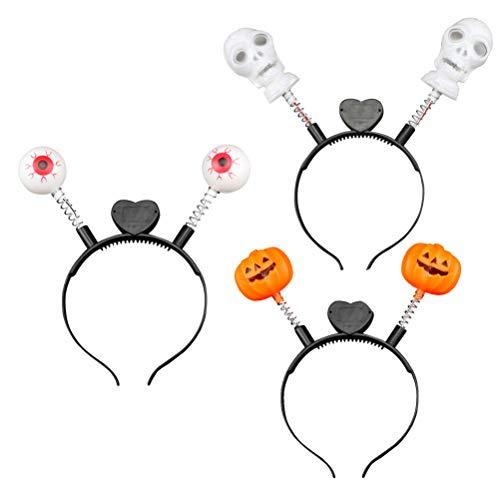 Amosfun 3 diademas luminosas con forma de calavera y ojos de calabaza, para Halloween, para fiestas de Halloween
