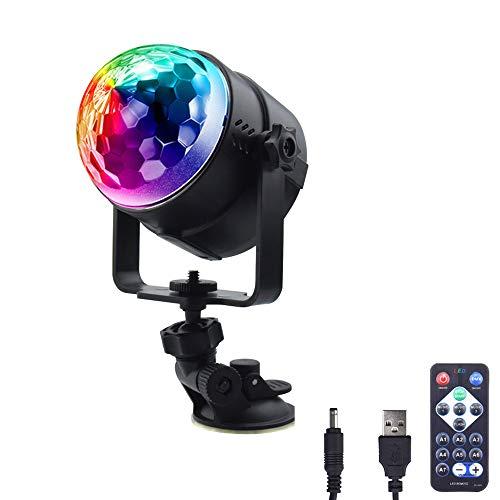 Luxvista Mini Bola Mágica de LED Luces Discoteca, 7 Colores RGB Lámpara de Escenario, Efecto Giratorio, Cable USB, Sonido activado + Control Remoto(Sin Batería), Iluminación de Ambiente para Disco/KTV