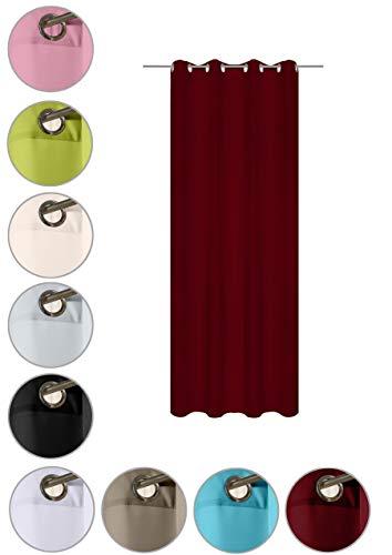 wometo Vorhang mit 8 rostfreien Metall Ösen Blickdicht 140x245 cm Türvorhang Ösenvorhang - rot weinrot
