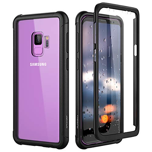 SURITCH Clear Case for Samsung Galaxy S9,【Built in Screen Protector】【Support Wireless Charging】 Hybrid Protection Hard Shell+Soft TPU Bumper Rugged Case Shockproof for Samsung S9 5.8'(Black)